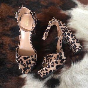 MOSSIMO SUPPLY CO • Leopard Suede Platform Heels